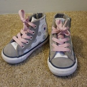Converse Shoes - Grey and pink converse shoes